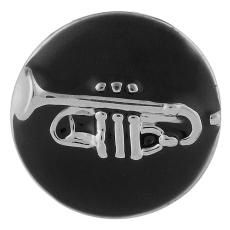 20MM Instruments de musique snap Silver Plated with Enamel KB6302 noir
