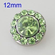 12MM Bouton pression rond argenté avec strass KB1523-S s'encliquette bijoux