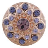 20MM redondo chapado en oro rosa con diamantes de imitación púrpura KC5650 broches de joyería