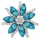 20MM Flowers snap Silver Plated with blue Rhinestone de alta calidad KC7934 broches de joyería