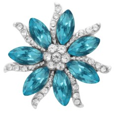 20MM Flowers snap Silver Plated with blue High-quality rhinestone  KC7934 snaps jewelry