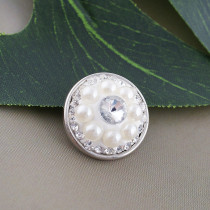 18mm Sugar snaps Alloy with white pearl KB2428 snaps jewelry