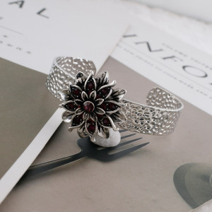20MM Flower snap silver Plated with deep purple Rhinestones KC7662 snaps jewerly