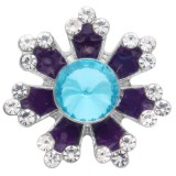 20MM bouton pression de fleur argenté avec strass bleu et émail KC6915 s'enclenche bijoux