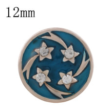 12MM star rose gold Plated with rhinestone and blue enamel KS6338-S