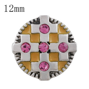 Broche cruzado 12MM con diamantes de imitación rosados ​​y esmalte amarillo KS5210-S broches intercambiables
