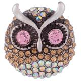 23MM Owl snap Chapado en plata antigua con diamantes de imitación KB7958 broches de joyería
