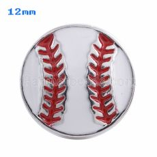 12mm Baseball snaps Silver Plated with white Enamel KS5051-S snap jewelry