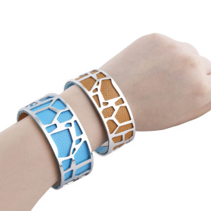 Stainless Steel Bangle sliver with real leather blue/brown double side TA7023