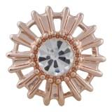 Design 20MM plaqué or rose avec strass blanc KC5638 snaps bijoux