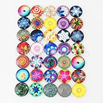 10pcs printed glass snaps chunks--Colorful MIX 25 types arts design pattern