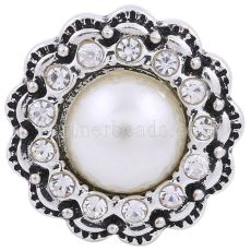20MM round snap silver plated with white rhinestones and pearl  KC8635 interchangable snaps jewelry