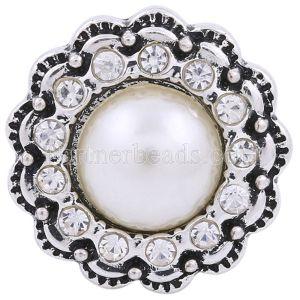 20MM broche redondo plateado con diamantes de imitación blancos y perlas KC8635 joyería de broches intercambiables