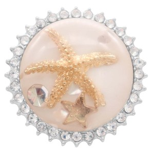 25MM Thick Glossy Surface Round Yellow Starfish Amber snap Silver Plated with Rhinestone KC7966