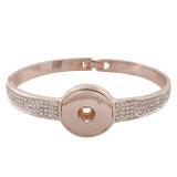 Boutons 1 s'accrochant à un bracelet en or rose ajusté avec strass 18 et 20MM s'accrochant à des morceaux