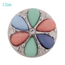 12MM Bouton pression fleur Plaqué argent avec perles colorées et strass KS9666-S Multicouleur