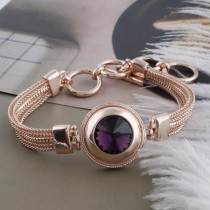 20MM round snap Rose-Gold Plated with Dark purple Rhinestone KC9759 snaps jewelry