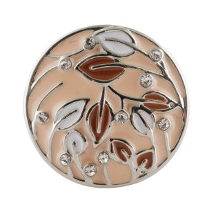 20MM Leaf snap silver Plated with  Rhinestones and  brown enamel KC7688 snaps jewerly
