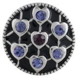 Cœur 20MM en métal argenté avec strass violet et émail KC5540 s'encliquette bijoux