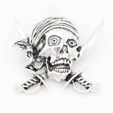 20MM skull snap sliver Plated KC6696 snaps jewelry