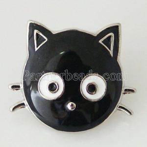 20MM Cat snap Plateado con esmalte KB6336 broches de joyería