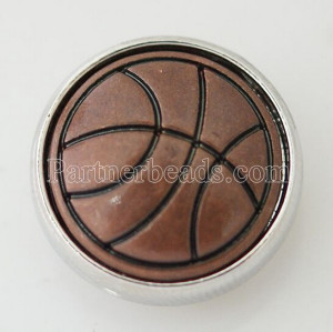 20MM basketballl snap Silver Plated KB5649 marron