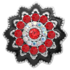 20MM design snap silver Plated with red rhinestone KC6937 snaps jewelry
