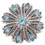 Diseño 20MM plata chapada antigua chapada con diamantes de imitación azul claro KC5409 broches de joyería
