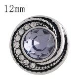 12MM design snap sliver plated with light purple Rhinestone and Enamel KS6270-S interchangeable snaps jewelry