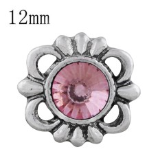 12MM design snap sliver plated with Dark pink Rhinestone KS6297-S snaps jewelry