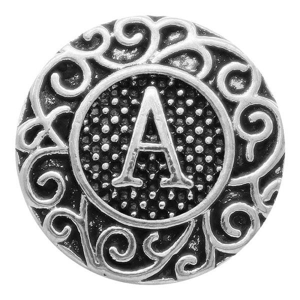 20MM Englisch Alphabet-A Snap Antik Silber KC6745 Snaps Schmuck