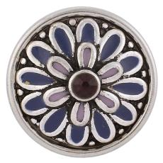 18mm boutons-pression violets morceaux de métal avec strass KB3520 boutons-pression bijoux