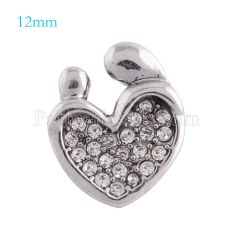 12mm mother snaps Silver Plated with white rhinestone KS5094-S snap jewelry