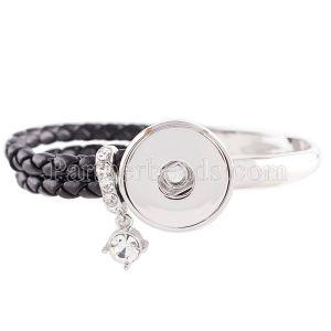 Cuero real negro y aleación con diamantes de imitación KC0605 pulseras de nuevo tipo que se ajustan a trozos de broches 20mm