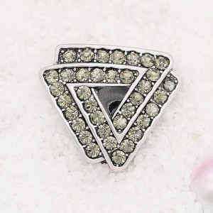 20MM Triangle snap Silver Plated with gray rhinestone KC7912 snaps jewelry