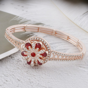 20MM design Rose-Gold Plated with red rhinestone KC5653 snaps jewelry
