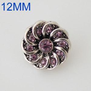 Broches de flores 12mm Plateado plata antigua con diamantes de imitación púrpura KB6572-S joyería rápida