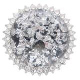 25MM Hecho a mano Grueso brillante redondo Ámbar complemento Plateado con diamantes de imitación KC7956 Blanco