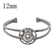 1 buttons snap sliver bracelet with rhinestone fit 12MM snaps jewelry KS1193-S