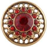20MM broche redondo Chapado en oro antiguo con diamantes de imitación rojos KC8711 broches de joyería