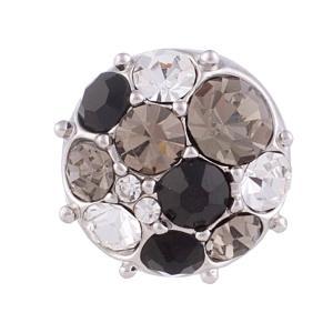 12MM Broche redondo plateado con diamantes de imitación negro / blanco KB5555-S broches de joyería
