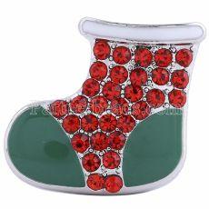 20MM Рождественские снегоступы оснастки посеребренные со стразами и эмалью KC6160 оснастки ювелирные изделия
