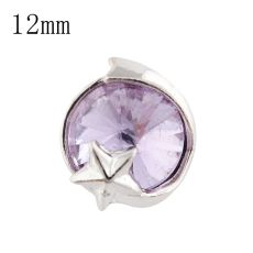 12mm star Small size snaps silver plated with purple Rhinestone for chunks jewelry