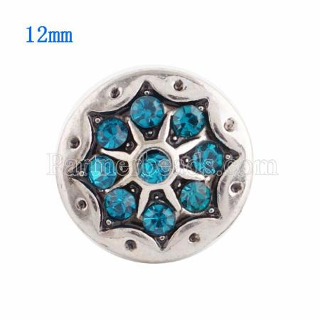 12MM Round snap Silver Plated  with  cyan Rhinestone KS9601-S snaps jewelry