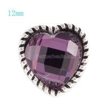 12MM Loveheart snap Argent Antique Plaqué avec strass violet KS6061-S s'encliquette bijoux