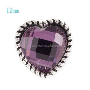 12MM Loveheart snap Plateado antiguo plateado con diamantes de imitación morados KS6061-S broches de joyería
