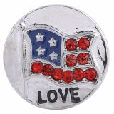 Drapeau 20MM bouton pression rond plaqué argent avec strass KC6186 boutons pression bijoux