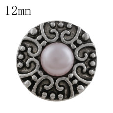 12MM Round snap Antique Silver Plated with pink bead KS5200-S snaps jewelry