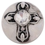 20MM cross snap button Antique Silver Plated with white Rhinestone KC9703 snap jewelry