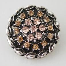 20MM Flower snap Antique Silver Plated with orange  rhinestone KB8016 snaps jewelry